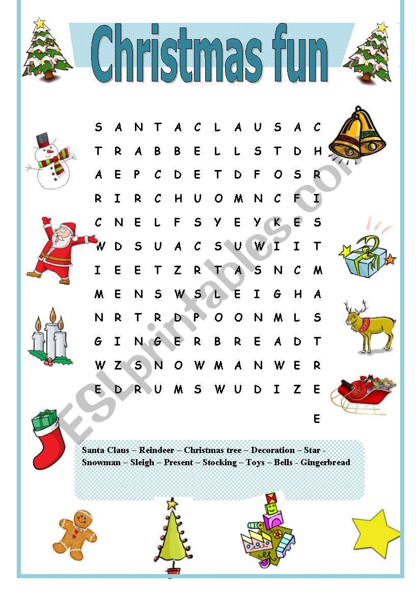 Easy And Simple Christmas Wordsearch Esl Worksheet By