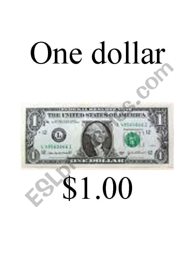 Money Flashcards - U.S. Currency (dollar bills)