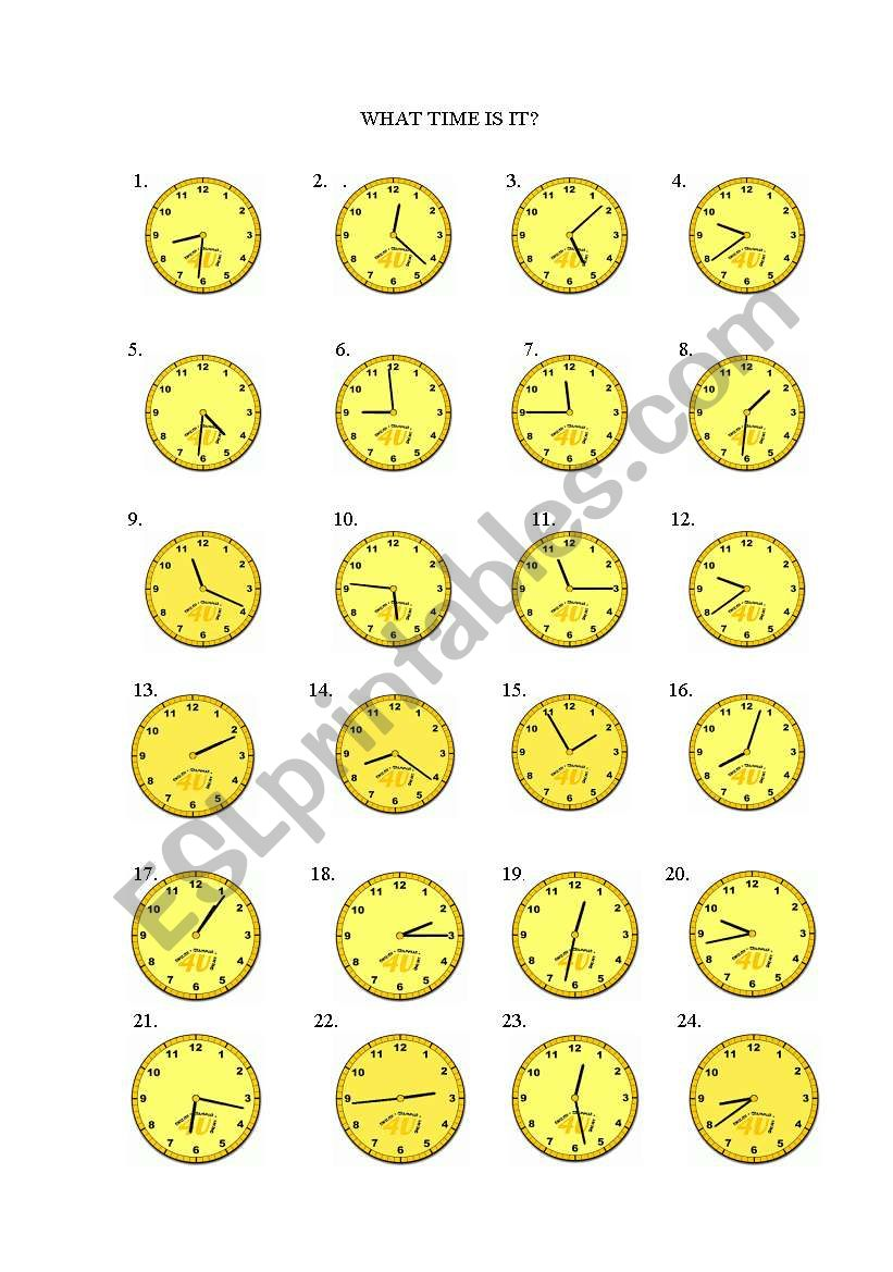 WHAT TIME IS IT! worksheet