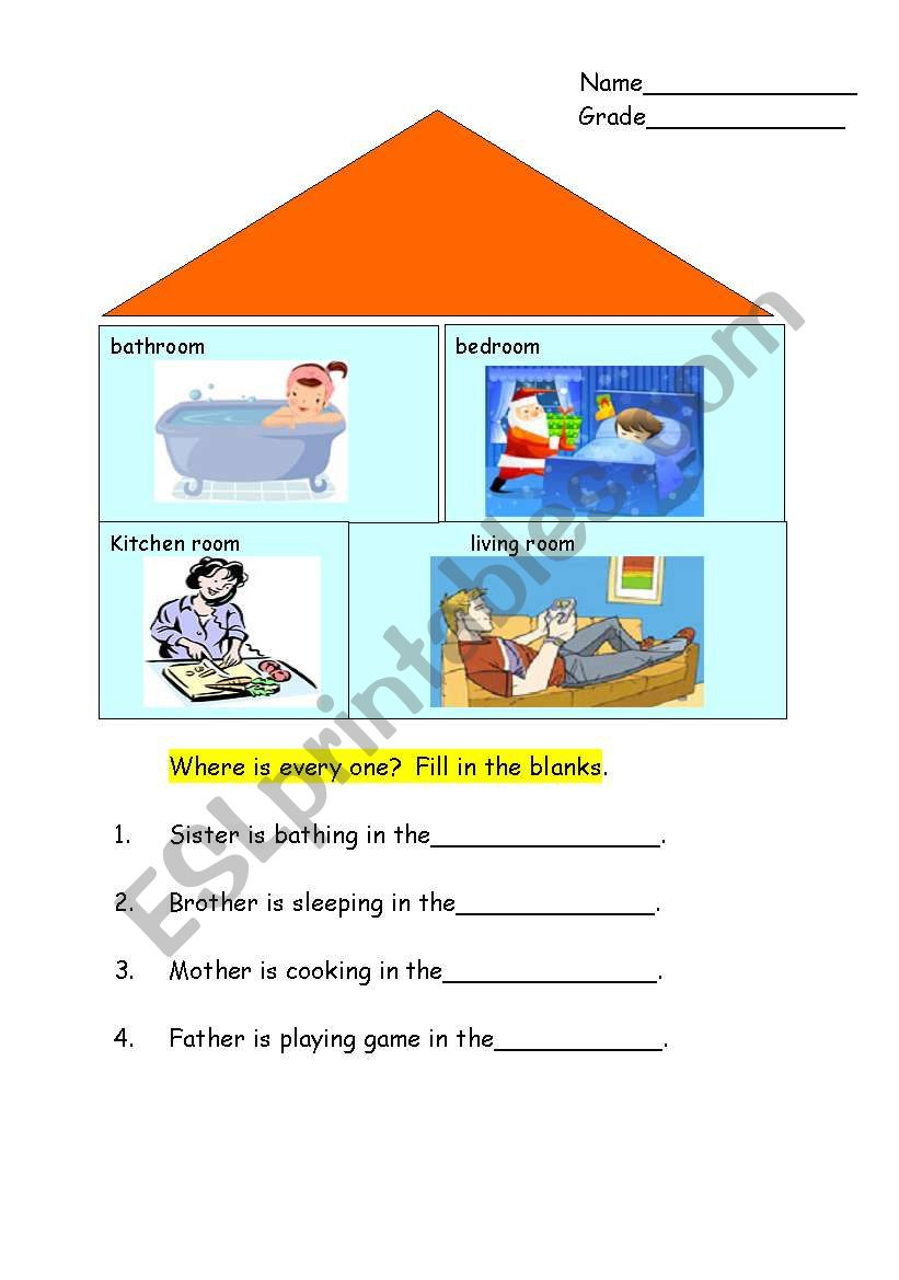 Room in a house worksheet