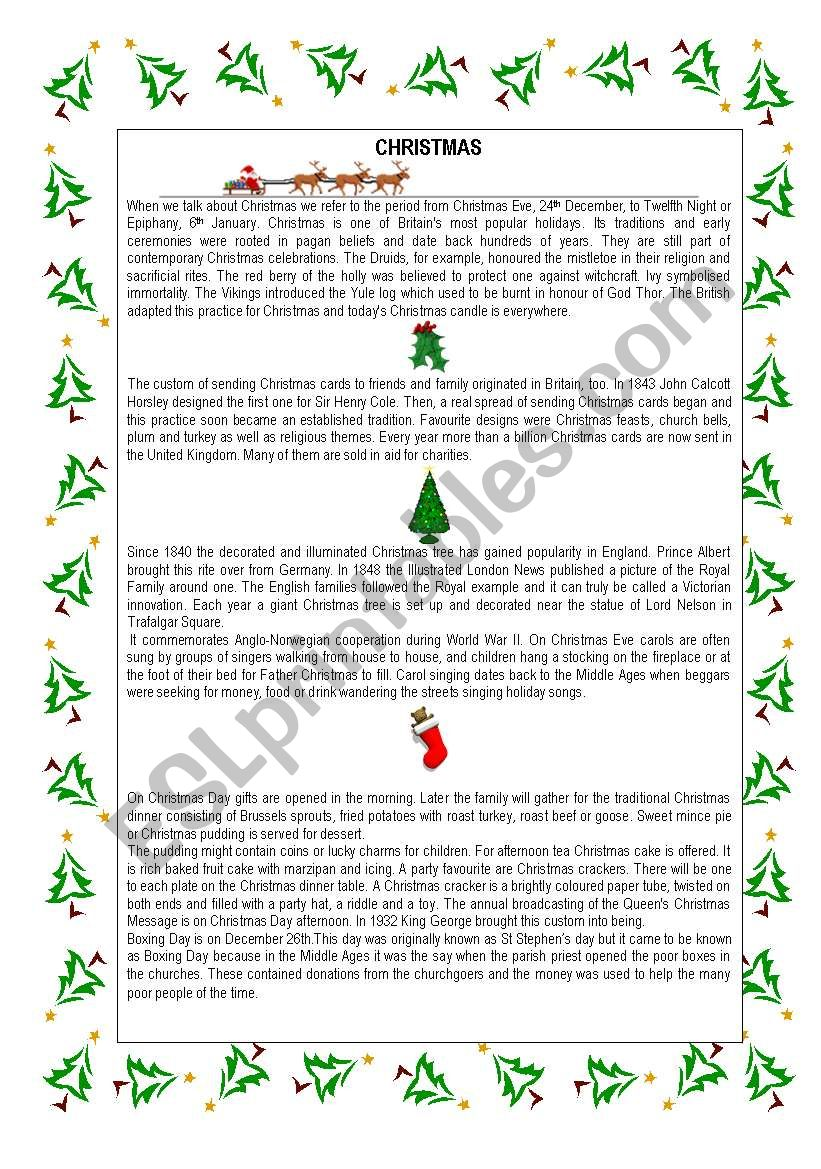 CHRISTMAS TRADITIONS TEXT AND A CAROL