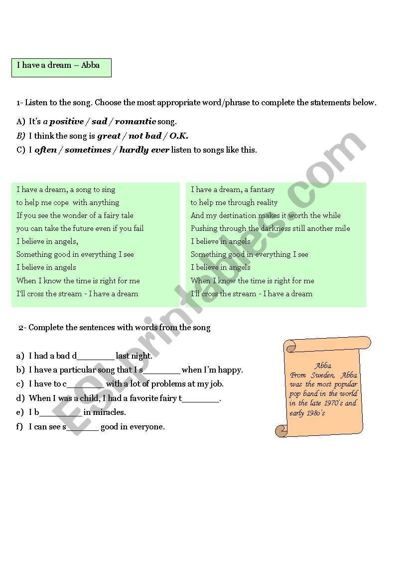 I have a Dream - Abba worksheet
