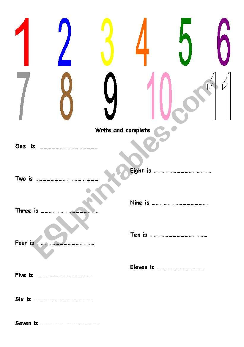 What colours are the numbers? worksheet