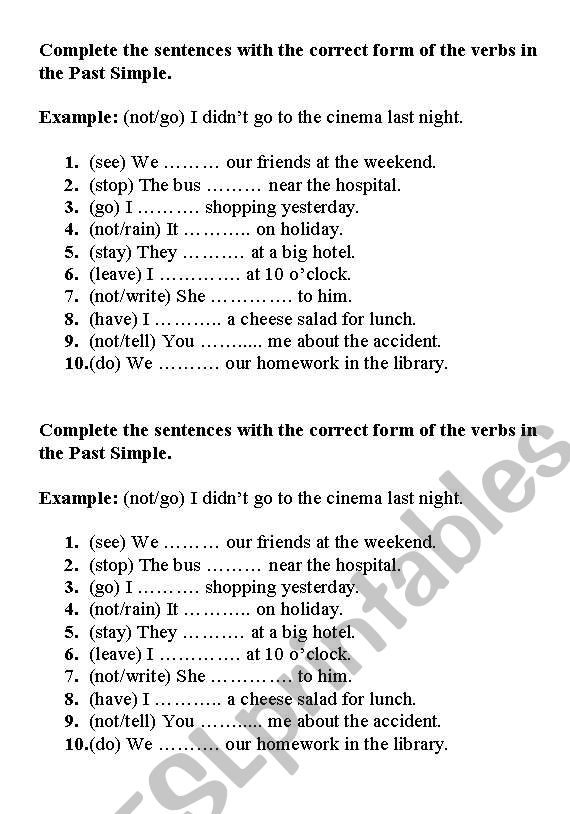 Exercise - Past Simple worksheet