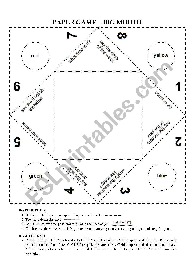 Cootie Catcher: Paper game worksheet