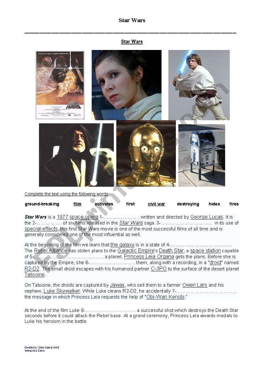 Star Wars worksheet