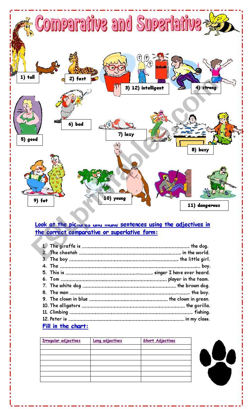 Worksheets Comparative And Superlative Worksheets comparative and superlative exercises esl worksheet by pacchy exercises
