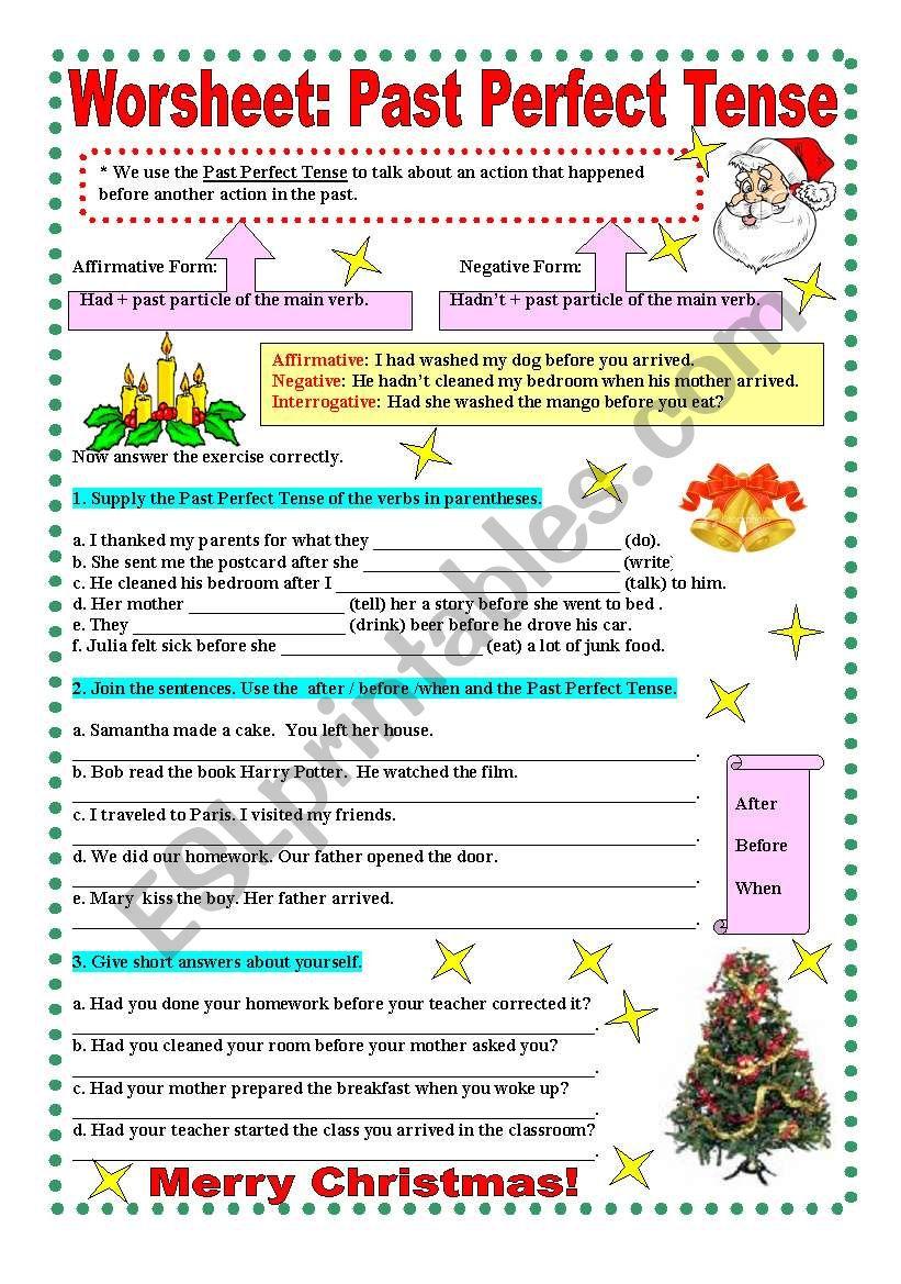 Worksheet : Past Perfect tense - ESL worksheet by Elinha