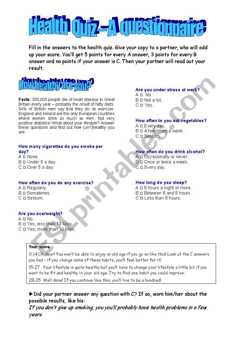 Health Quiz - A questionnaire worksheet