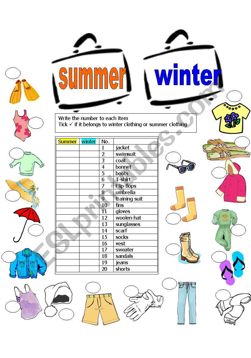 summer winter clothes esl worksheet by gilorit. Black Bedroom Furniture Sets. Home Design Ideas