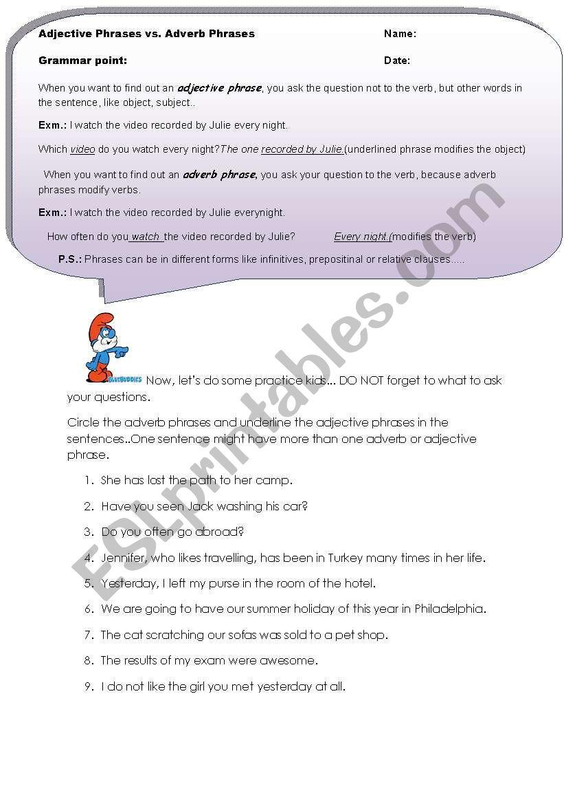 Adjective Adverb Phrases Esl Worksheet By Asli87