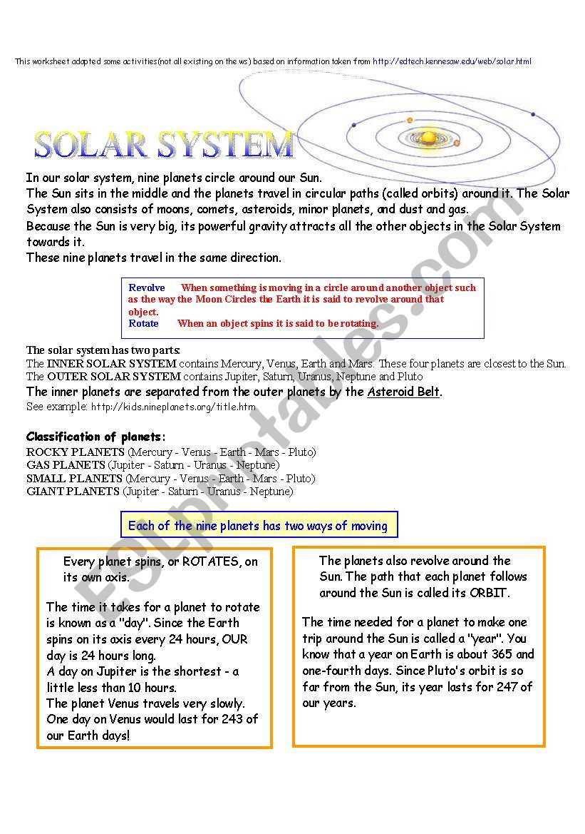 Solar system and planets worksheet