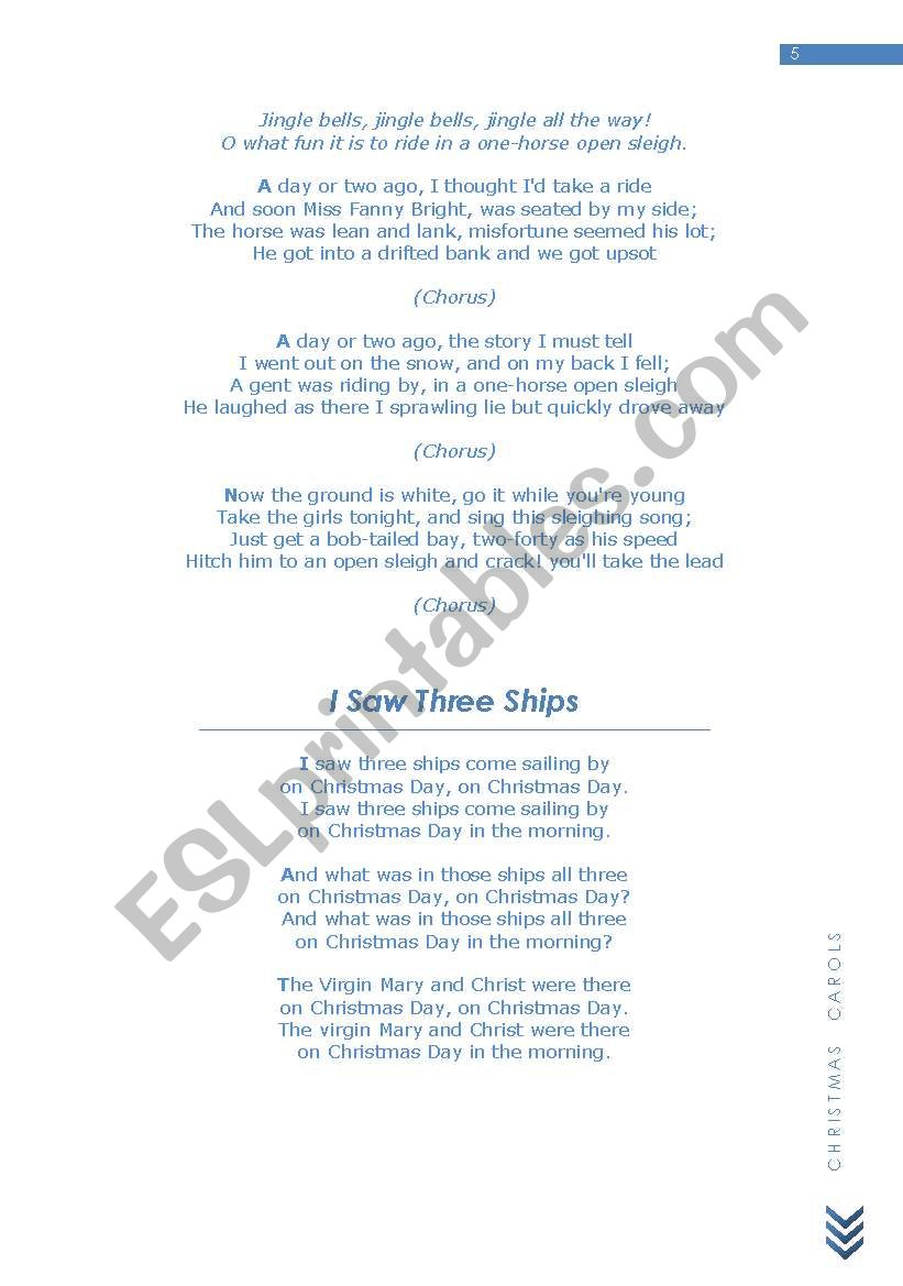 christmas carols esl worksheet by elenirio81