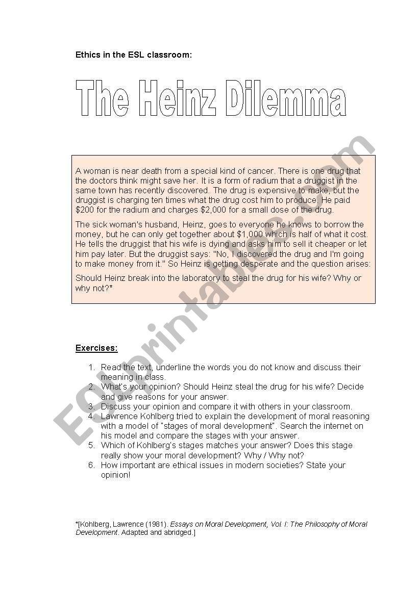 The Heinz Dilemma - Ethics in the ESL classroom