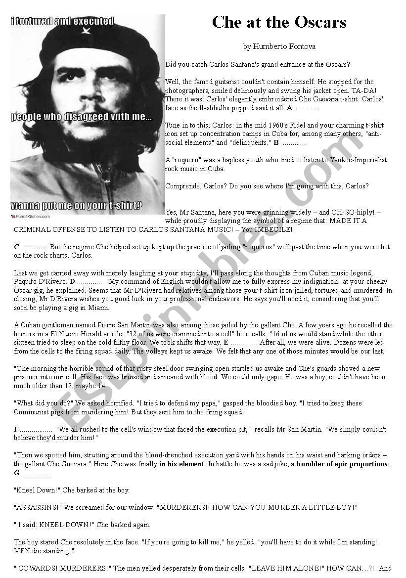 Che Guevara - reading worksheet