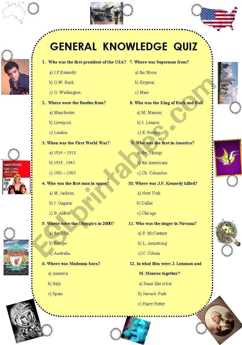 General knowledge quiz (was,were) - ESL worksheet by renca