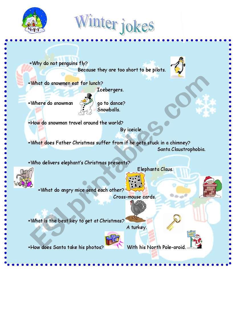 Winter jokes worksheet