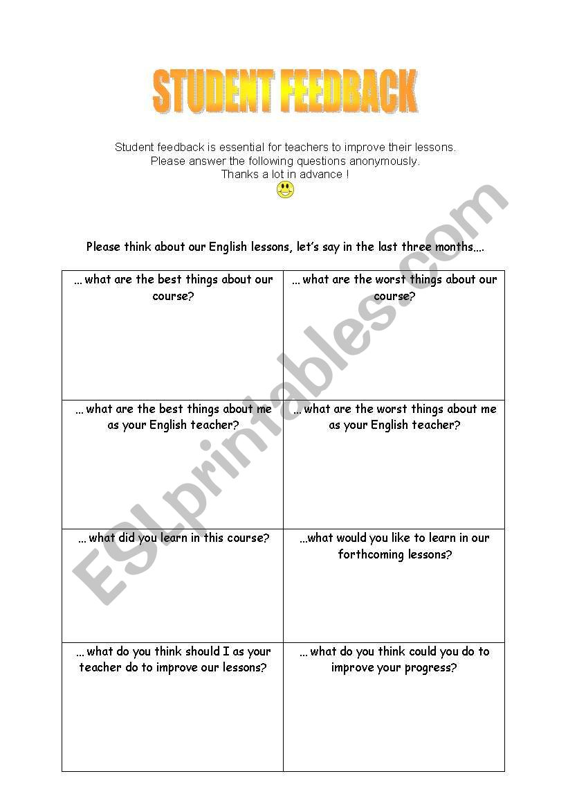 Student feedback - a questionnaire to evaluate your lessons