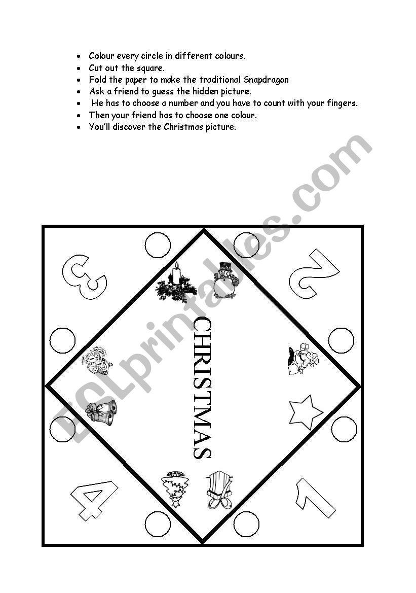 Christmas snap dragon worksheet