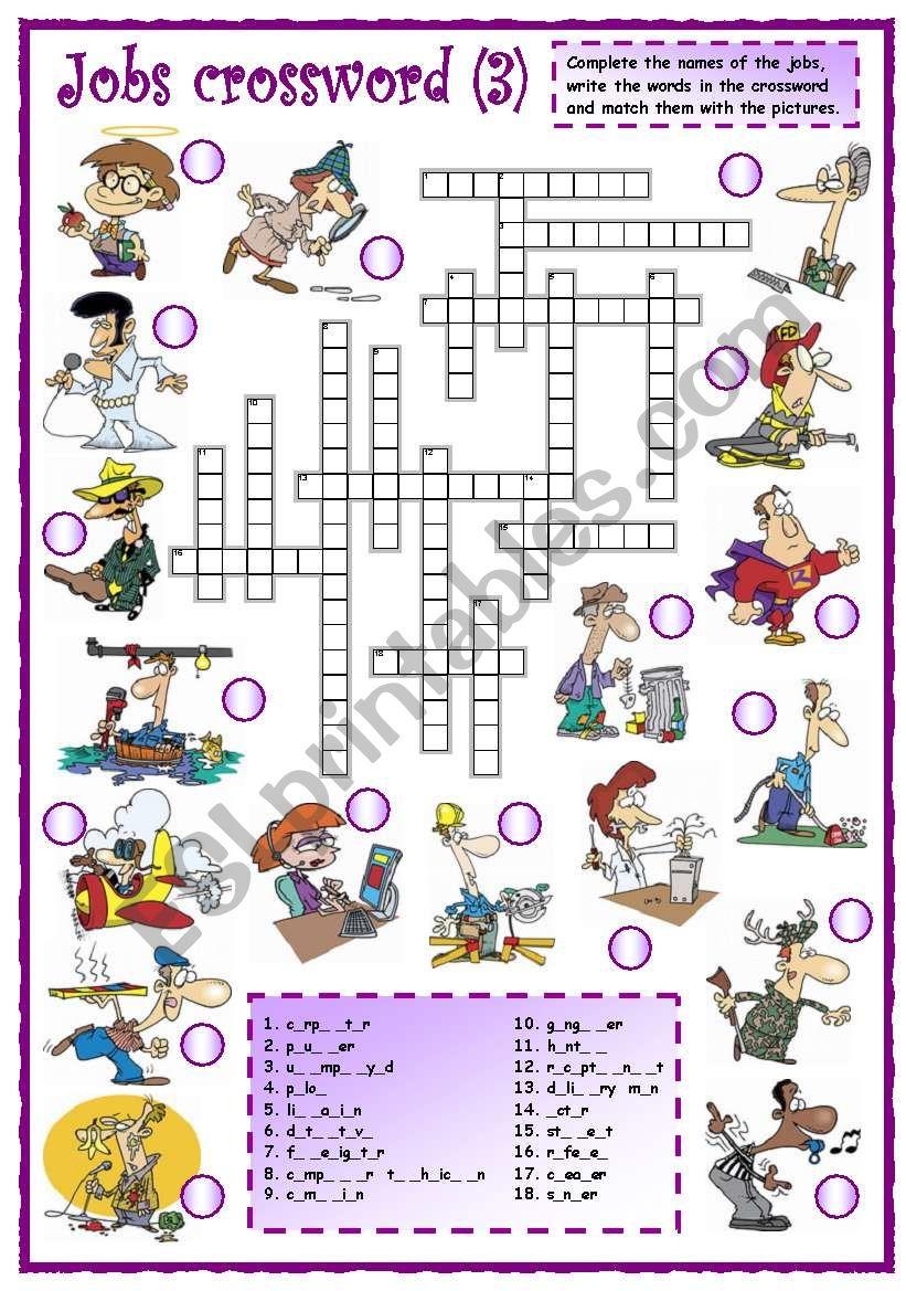 Jobs crossword (3 of 3) - ESL worksheet by mpotb