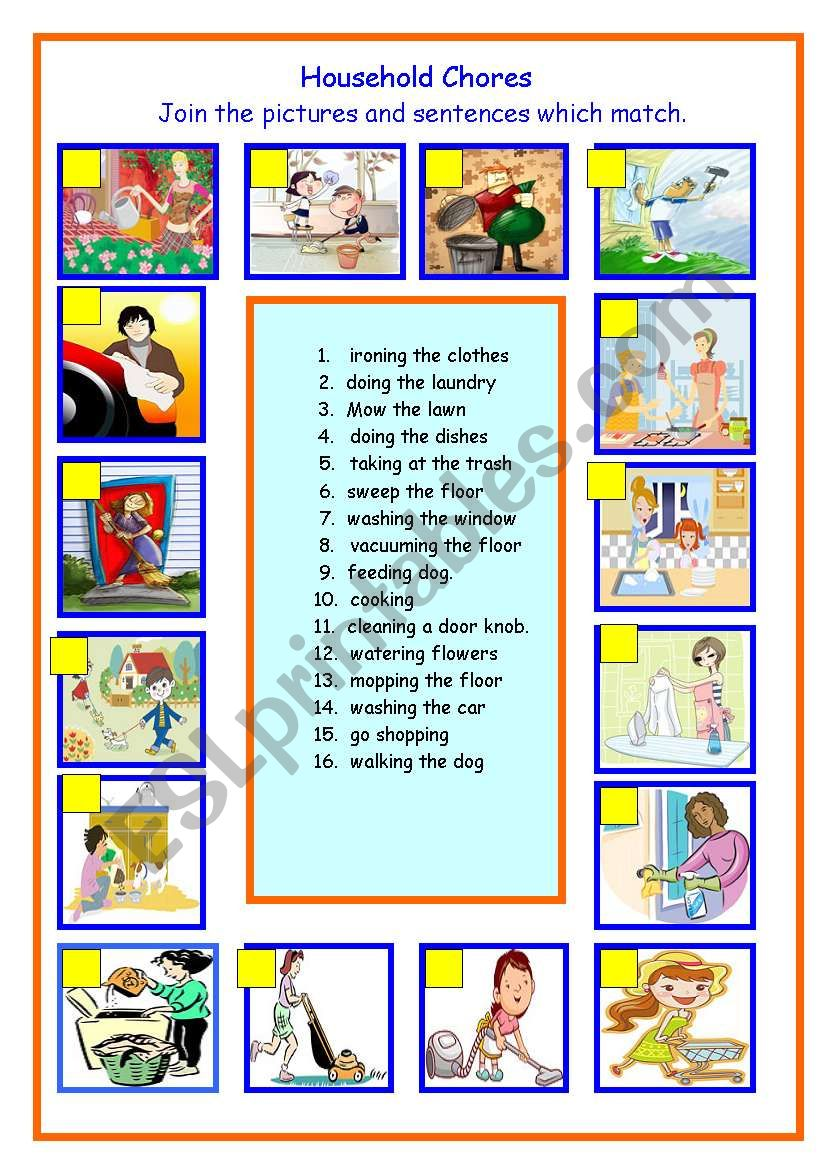 Household Chores worksheet