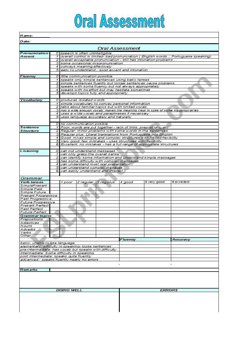 Oral Assessment worksheet