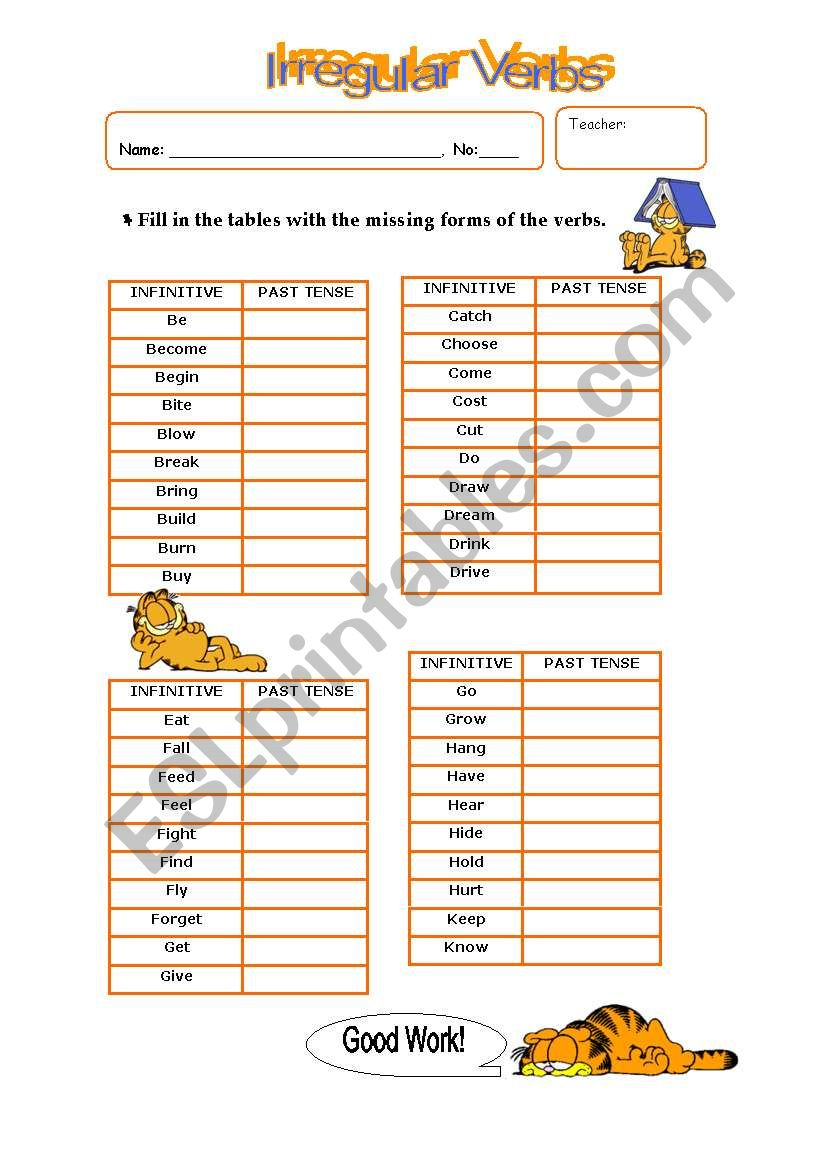 Irregular verbs list - Part I worksheet