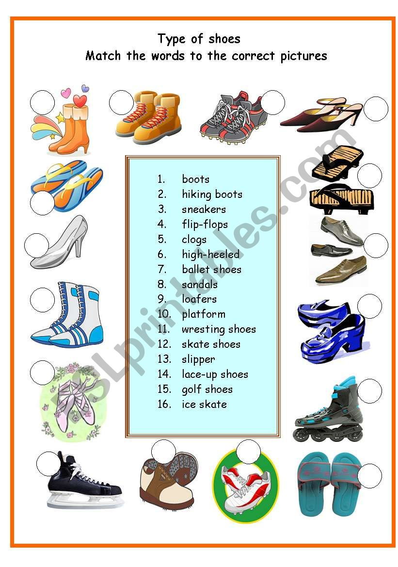 TYPE OF SHOES worksheet