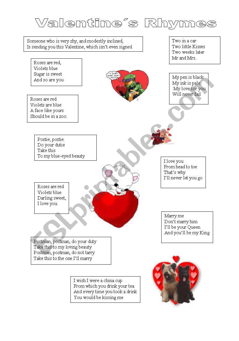 valentine rhymes esl worksheet by leonildamartins. Black Bedroom Furniture Sets. Home Design Ideas