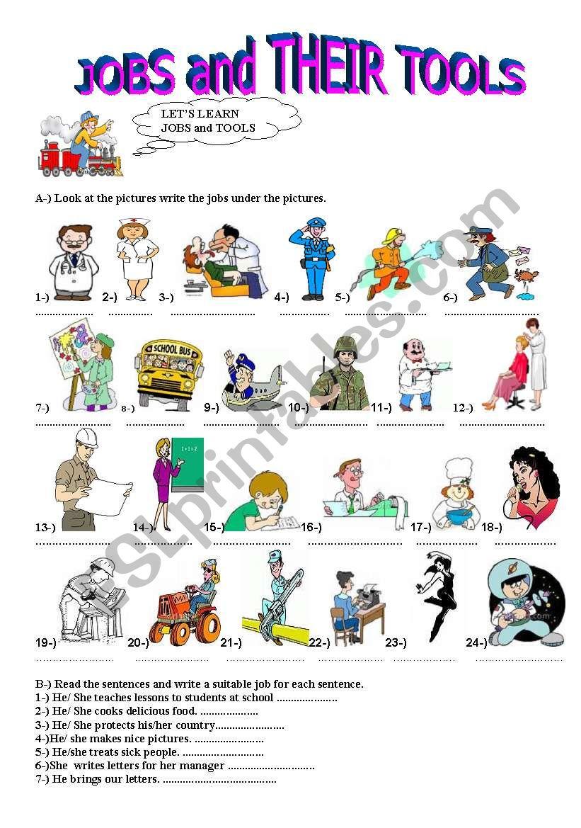 jobs and their tools - ESL worksheet by marsuplami