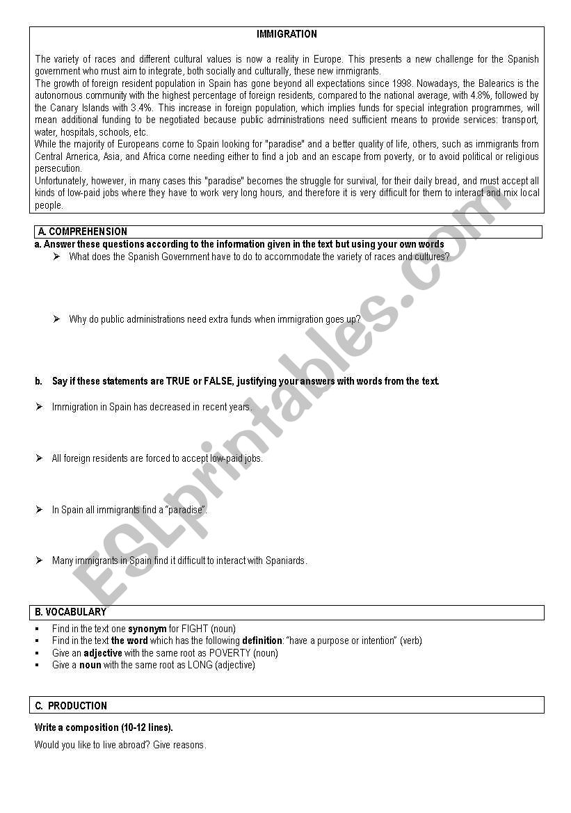 TWO TESTS ON IMMIGRATION   worksheet