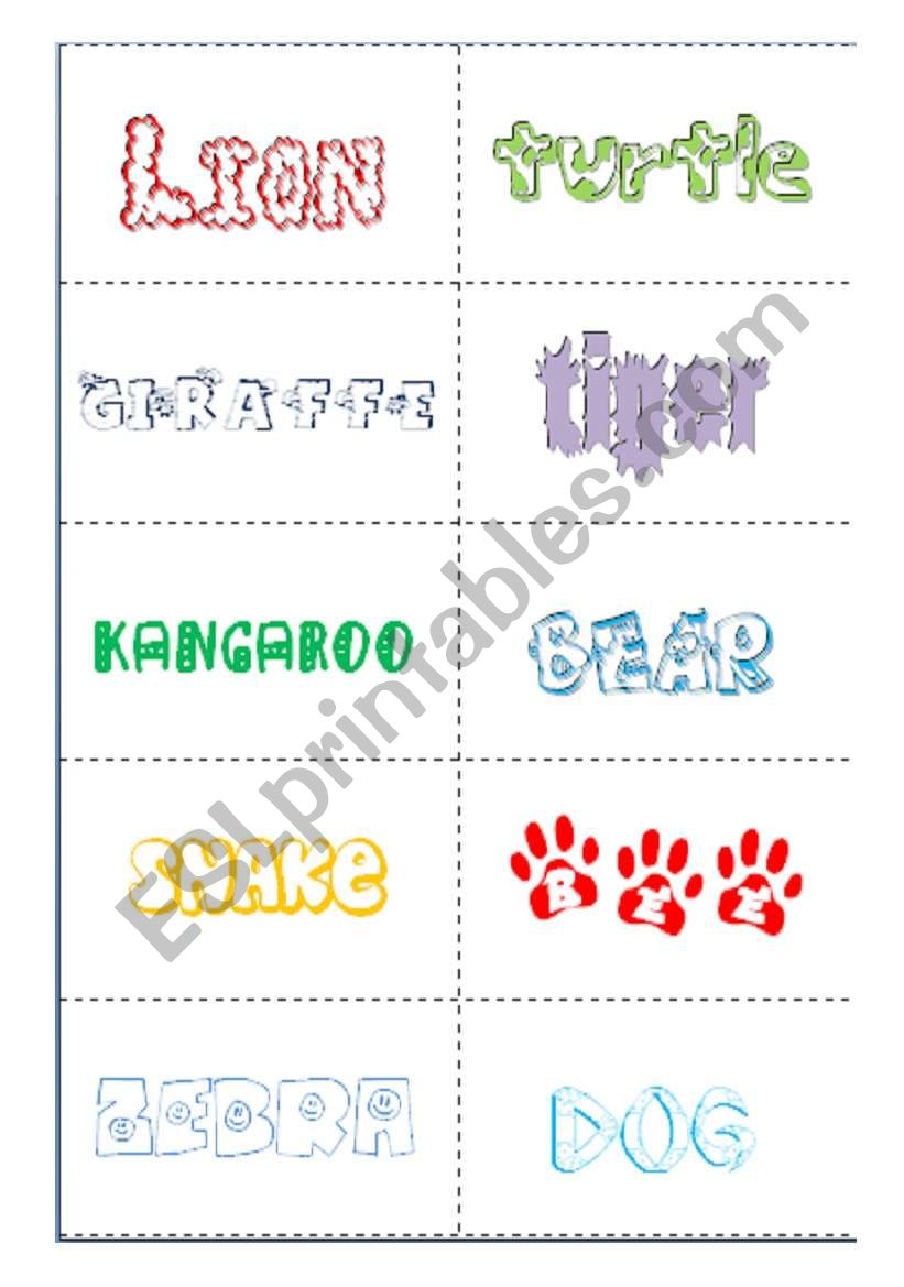Animals Flashcards worksheet