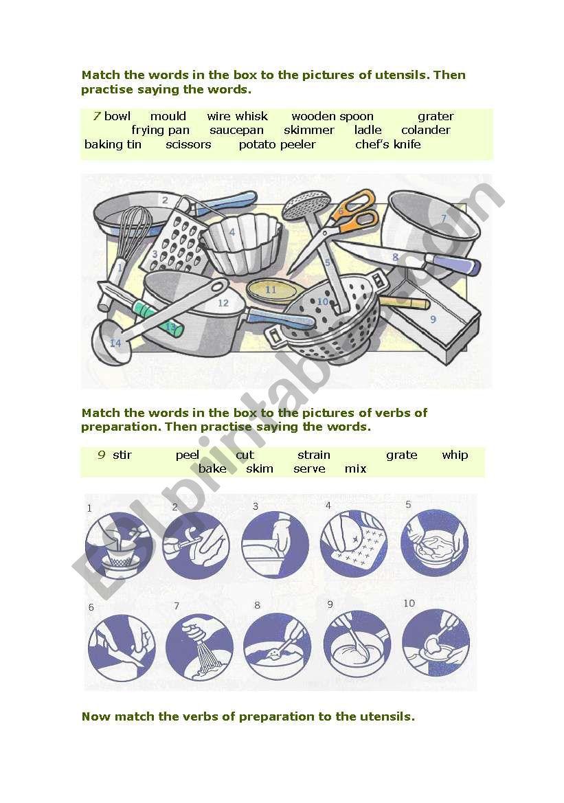 Kitchen utensils and verbs worksheet