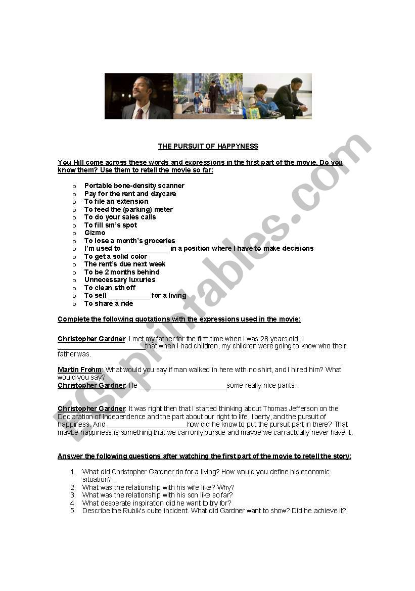 The Pursuit of happyness worksheet