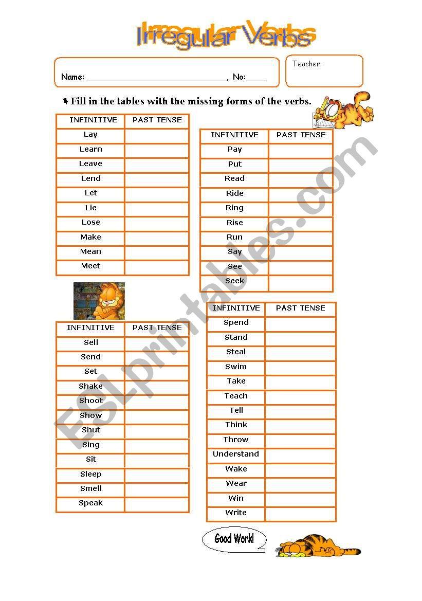 Irregular Verbs - Part II worksheet