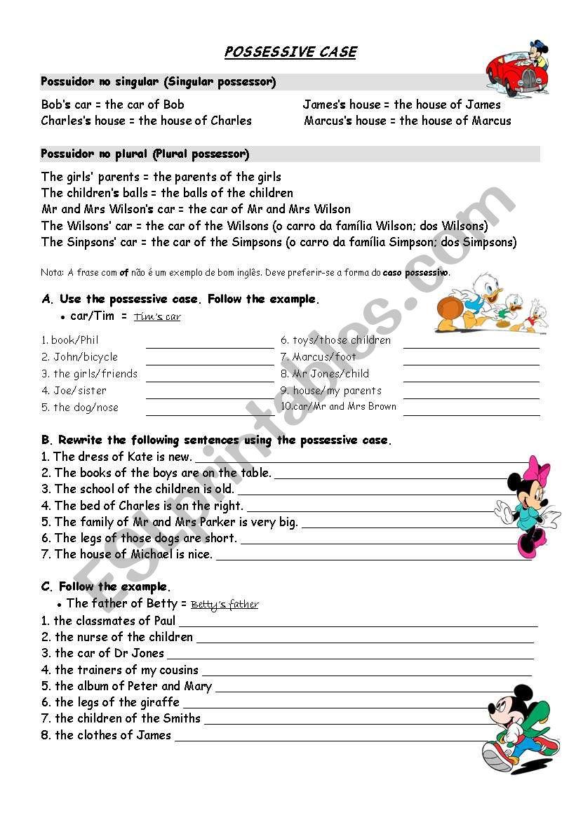 THE POSSESSIVE CASE worksheet