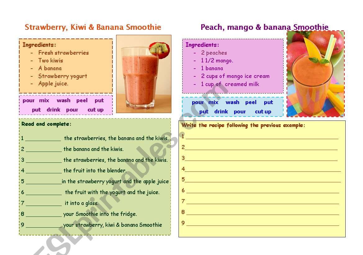 Fruit Smoothie recipes worksheet