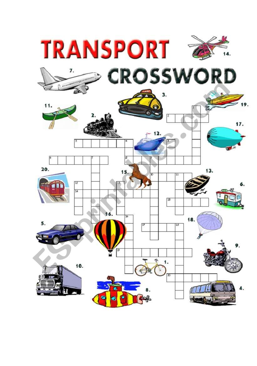 TRANSPORT CROSSWORD worksheet