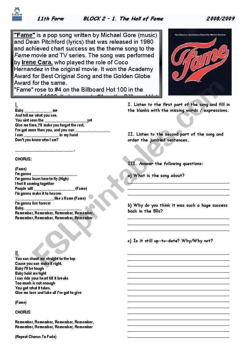 Fame- song worksheet
