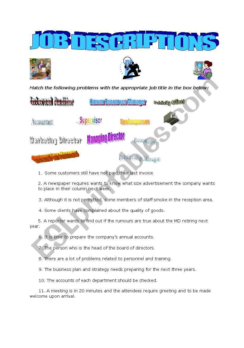 Job Description Worksheet - ESL worksheet by brazilrule