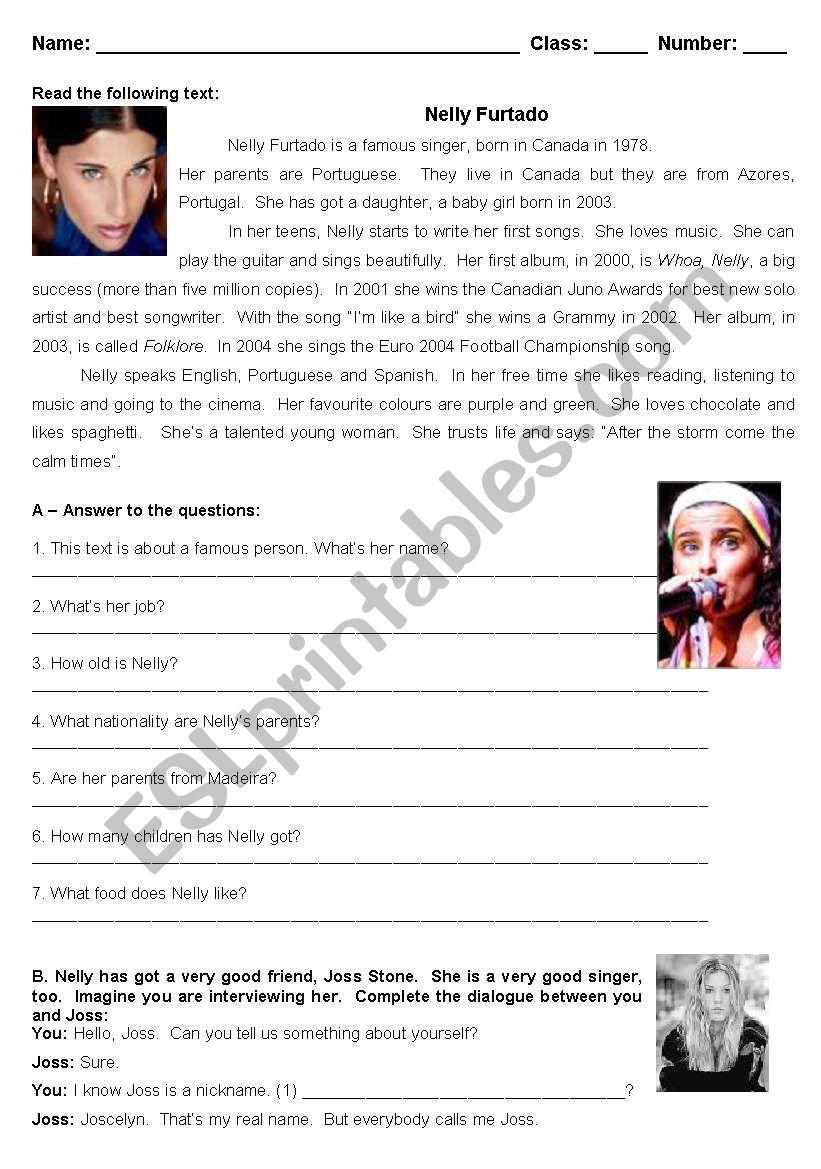 Nelly Furtado - test worksheet