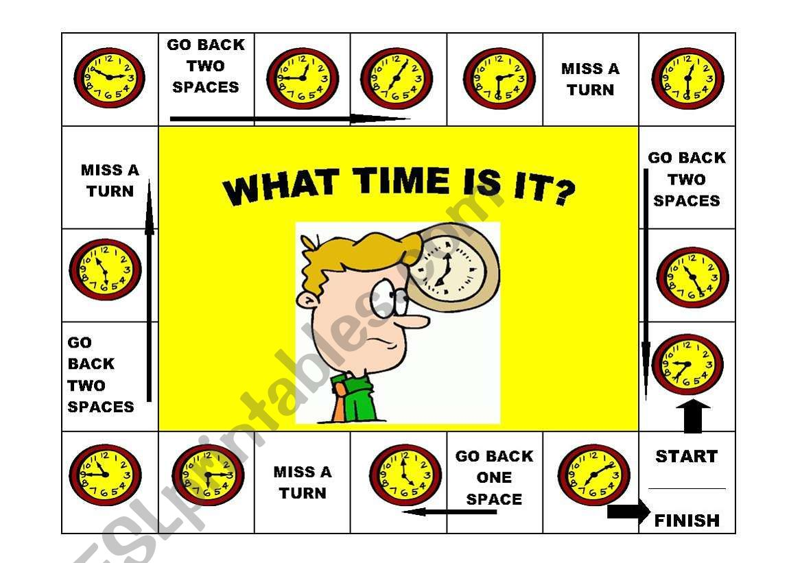 What time is it game worksheet