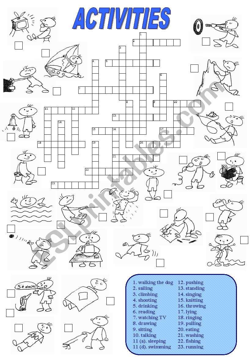 Activities Crossword (1 of 2) worksheet