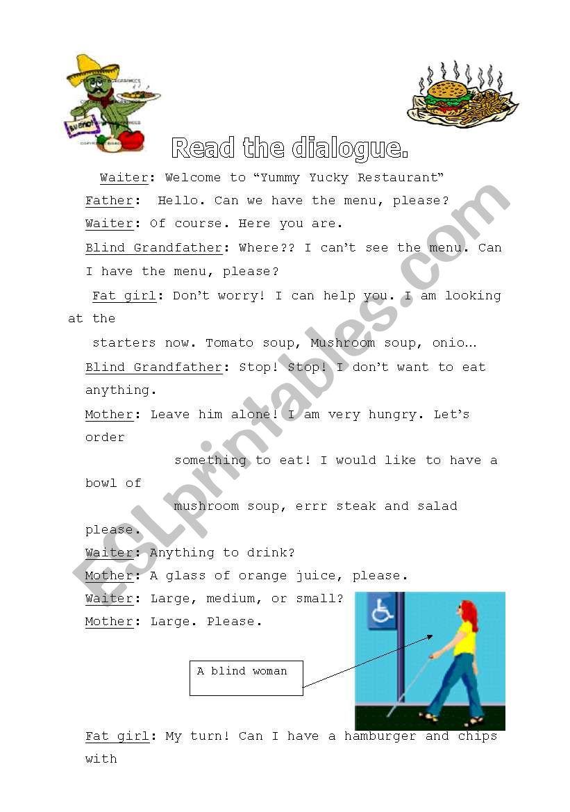 English worksheets: restaurant dialogue