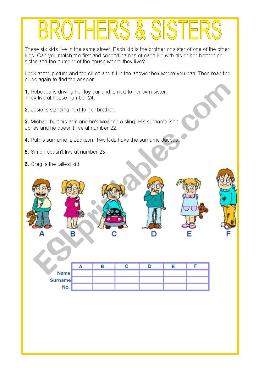 BROTHERS AND SISTERS worksheet