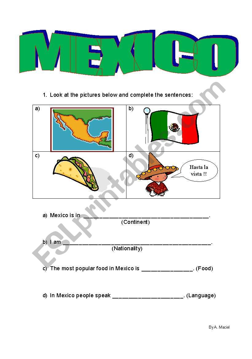 Elementary Classrooms Writing ~ Mexico guided writing esl worksheet by alemaciel