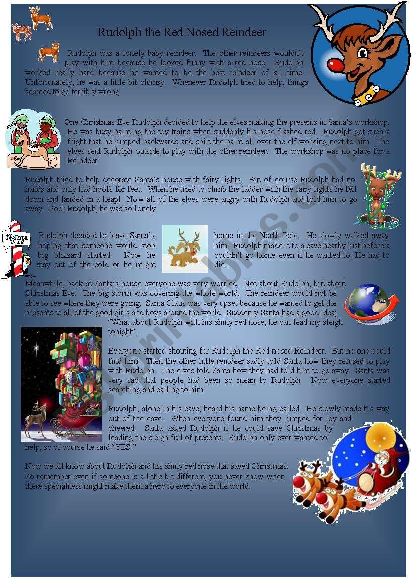 Rudolph the Rednose Reindeer Story - ESL worksheet by Vickiii