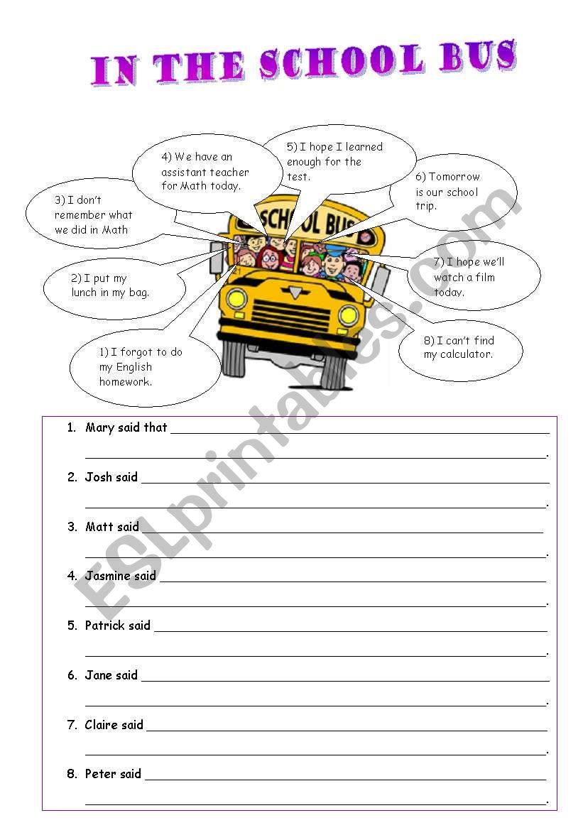 WS on reported speech worksheet