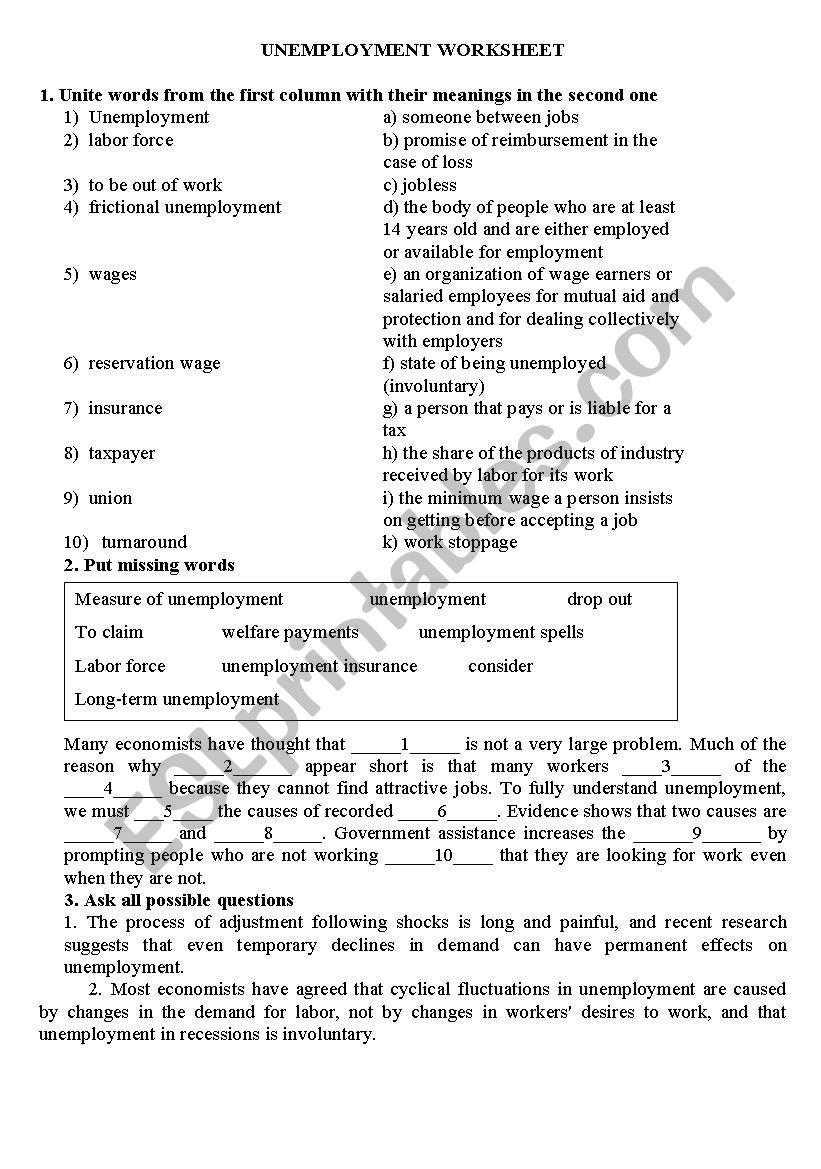 Unemployment worksheet worksheet