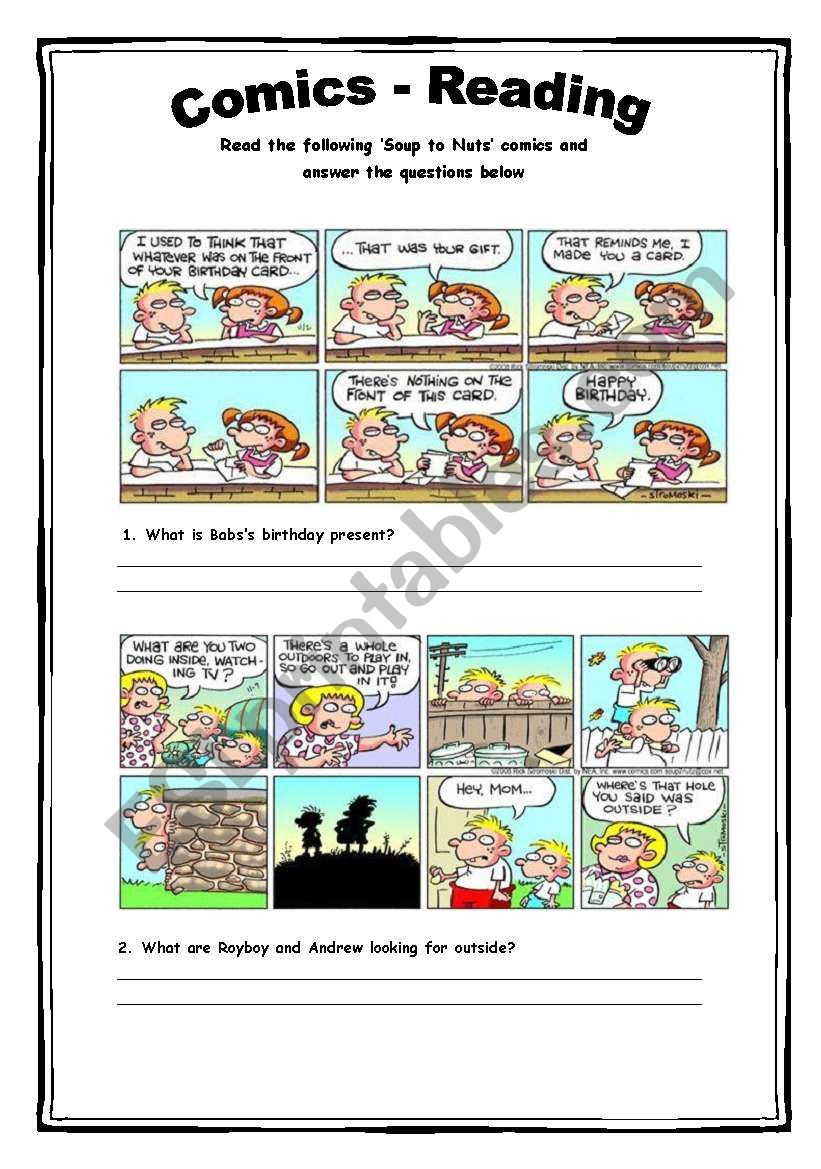 Comics - Reading Activity 3 worksheet